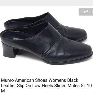 Munro American Mules Black Leather Sz 10